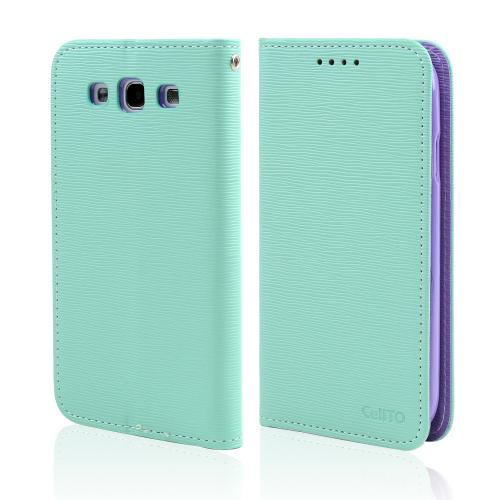 Mint/ Lavender CellLine Faux Leather Diary Flip Stand Case w/ ID Slots & Bill Fold for Samsung Galaxy S3