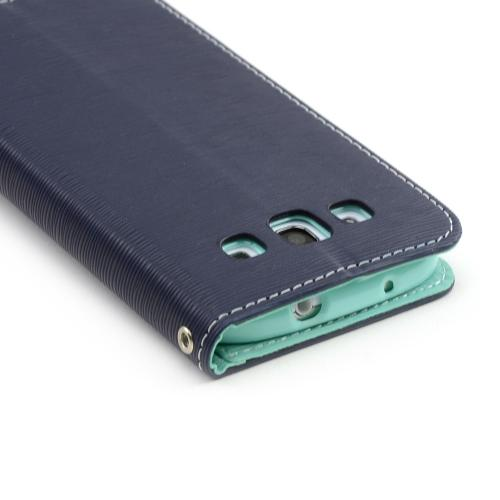 Navy/ Mint CellLine Faux Leather Diary Flip Stand Case w/ ID Slots & Bill Fold for Samsung Galaxy S3