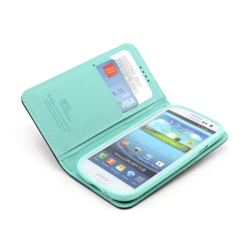 Navy/ Mint Faux Leather Diary Flip Stand Case w/ ID Slots & Bill Fold for Samsung Galaxy S3