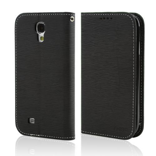 Black Faux Leather Diary Flip Stand Case w/ ID Slots & Bill Fold for Samsung Galaxy S4
