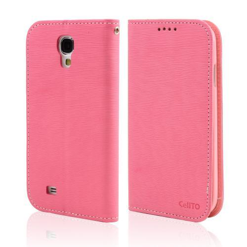 Hot Pink/ Baby Pink  Faux Leather Diary Flip Stand Case w/ ID Slots & Bill Fold for Samsung Galaxy S4