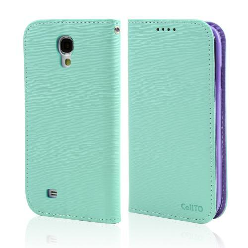 Mint/ Lavender Faux Leather Diary Flip Stand Case w/ ID Slots & Bill Fold for Samsung Galaxy S4