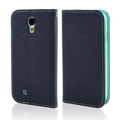 Navy/ Mint Faux Leather Diary Flip Stand Case w/ ID Slots & Bill Fold for Samsung Galaxy S4