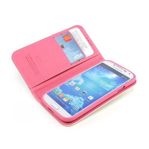 White/ Hot Pink Faux Leather Diary Flip Stand Case w/ ID Slots & Bill Fold for Samsung Galaxy S4