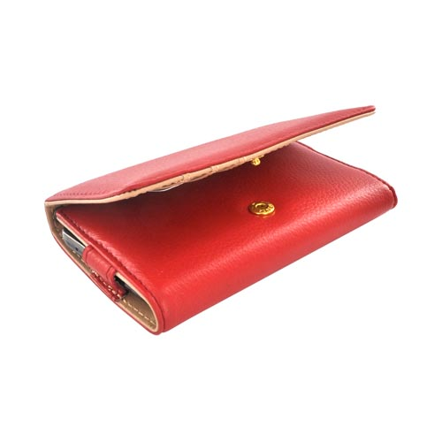 Premium Universal Samsung Galaxy S2/ Motorola Droid RAZR Leather Wallet Case Pouch w/ ID Slots - Red