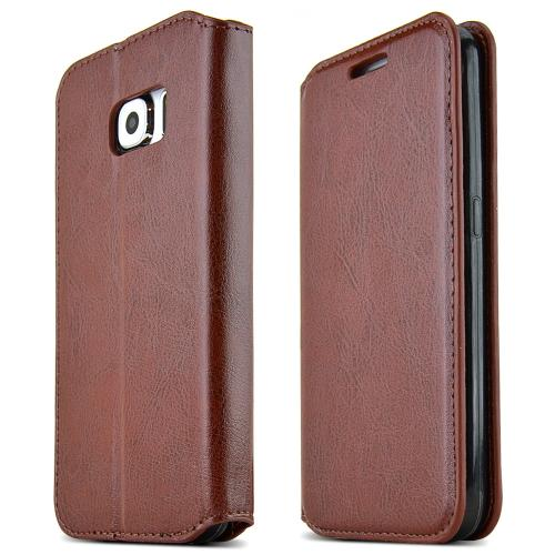 Samsung Galaxy S6 Case,  [Brown]  Kickstand Feature Luxury Faux Saffiano Leather Front Flip Cover with Built-in Card Slots, Magnetic Flap
