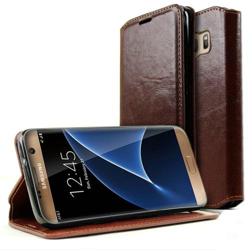 Samsung Galaxy S7 Wallet Case, REDshield [Brown] Faux Leather Front Flip Cover Diary Wallet Case w/ ID Slots & Bill Fold