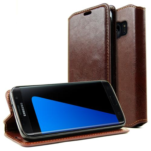 Samsung Galaxy S7 Edge Wallet Case, REDshield [Brown] Faux Leather Front Flip Cover Diary Wallet Case w/ ID Slots & Bill Fold