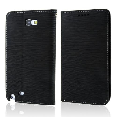 Black  Faux Leather Diary Flip Stand Case w/ ID Slots & Bill Fold for Samsung Galaxy Note 2