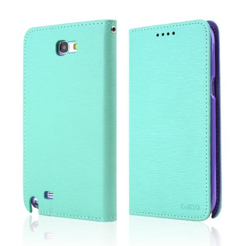 Mint/ Lavender Faux Leather Diary Flip Stand Case w/ ID Slots & Bill Fold for Samsung Galaxy Note 2