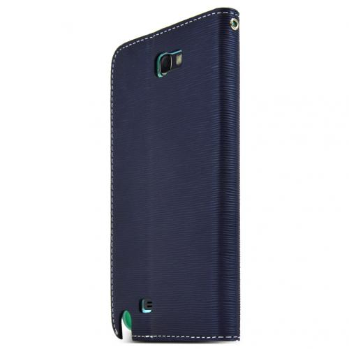 Navy/ Mint Faux Leather Diary Flip Stand Case w/ ID Slots & Bill Fold for Samsung Galaxy Note 2