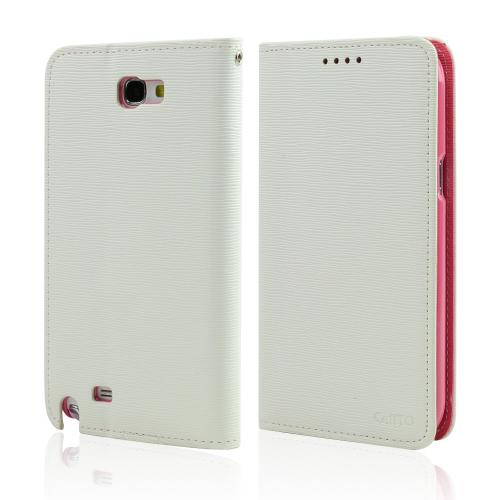 White/ Hot Pink Faux Leather Diary Flip Stand Case w/ ID Slots & Bill Fold for Samsung Galaxy Note 2