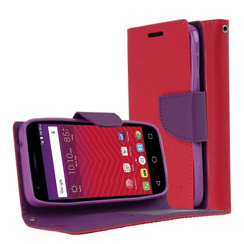 [Alcatel Dawn / Acquire / Streak] Case, REDshield [Pink/ Purple] Kickstand Feature Luxury Faux Saffiano Leather Front Flip Cover with Built-in Card Slots, Magnetic Flap