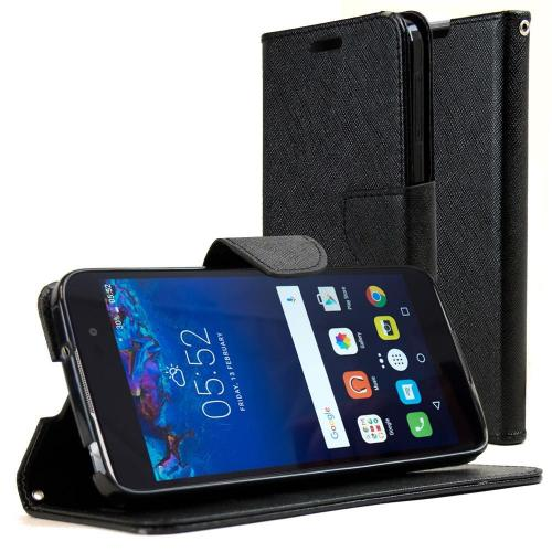 [Alcatel Idol 4] Diary Case, REDshield [Black] Kickstand Feature Luxury Faux Saffiano Leather Front Flip Cover with Built-in Card Slots, Magnetic Flap