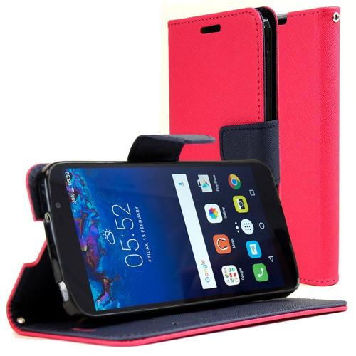 Alcatel Idol 4 Diary Case, REDshield [Hot Pink] Kickstand Feature Luxury Faux Saffiano Leather Front Flip Cover with Built-in Card Slots, Magnetic Flap