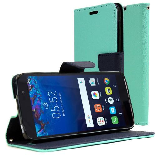 [Alcatel Idol 4] Diary Case, REDshield [Mint] Kickstand Feature Luxury Faux Saffiano Leather Front Flip Cover with Built-in Card Slots, Magnetic Flap