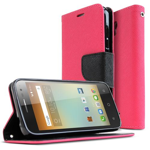 Alcatel OneTouch Elevate Case, [Hot Pink] Faux Leather Front Flip Cover Diary Wallet Case w/ Magnetic Flap