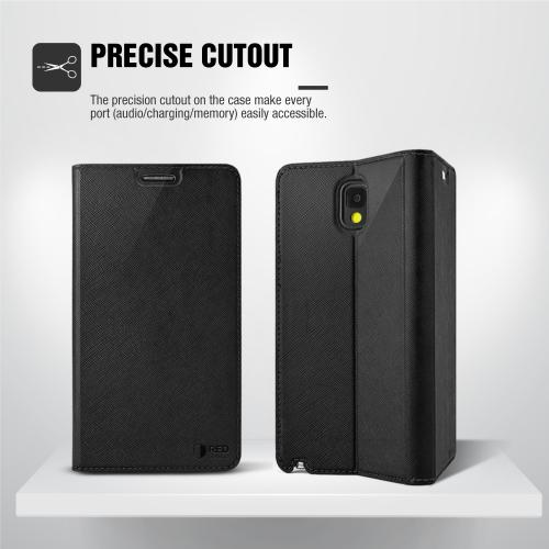 Alcatel OneTouch Fierce XL Case, [Black] Faux Leather Front Flip Cover Diary Wallet Case w/ Magnetic Flap