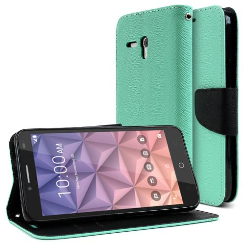 Alcatel OneTouch Fierce XL Case, [Mint] Faux Leather Front Flip Cover Diary Wallet Case w/ Magnetic Flap