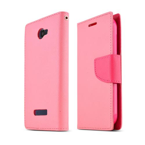 Baby Pink/ Hot Pink Alcatel One Touch Fierce 2 Faux Leather Diary Flip Case W/ Id Slots, Bill Fold, & Snap Close Magnet