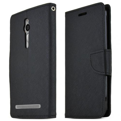 Asus Zenfone 2 Wallet Case, Black Saffiano Texture Faux Leather Front Flip Stand Feature Wallet Case