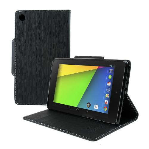 Black Faux Leather Diary Flip Case w/ ID Slots, Bill Fold, & Magnetic Closure for Google Nexus 7 2