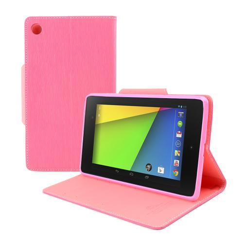 Hot Pink/ Baby Pink Faux Leather Diary Flip Case w/ ID Slots, Bill Fold, & Magnetic Closure for Google Nexus 7 (2013)