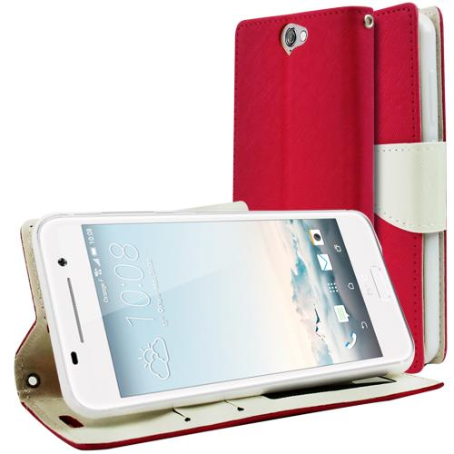HTC One A9 Wallet Case, [Hot Pink/ White] Faux Leather Front Flip Cover Diary Wallet Case w/ Magnetic Flap