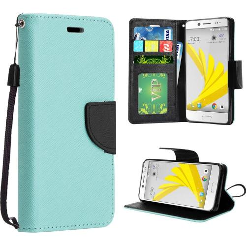 HTC Bolt Case, Luxury Faux Leather Saffiano Texture Front Flip Cover Diary Wallet Case w/ Magnetic Flap [Mint/ Black]