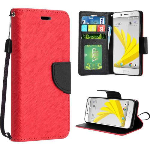 HTC Bolt Case, Luxury Faux Leather Saffiano Texture Front Flip Cover Diary Wallet Case w/ Magnetic Flap [Red/ Black]
