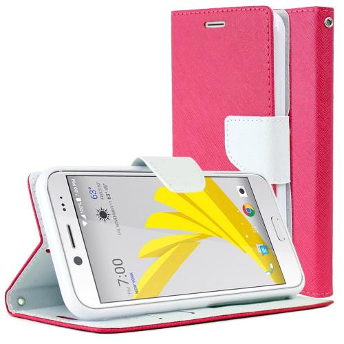 [HTC Bolt] Diary Case, REDshield [Hot Pink/ White] Kickstand Feature Luxury Faux Saffiano Leather Front Flip Cover with Built-in Card Slots, Magnetic Flap