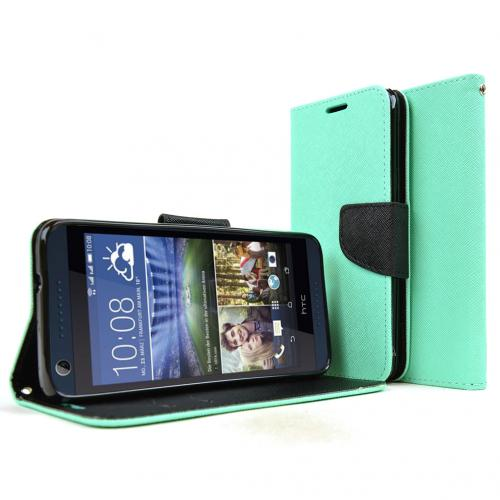 HTC Desire 626 Case, [Mint] Faux Leather Front Flip Cover Diary Wallet Case w/ Magnetic Flap