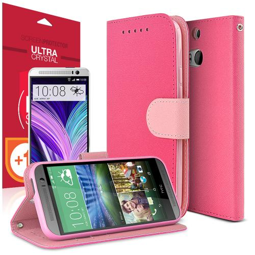 Hot Pink/ Baby Pink Red Shield Faux Leather Diary Flip Stand Case W/ Id Slots, Bill Fold, & Snap Close Magnet + Free Screen Protector For Htc One m8