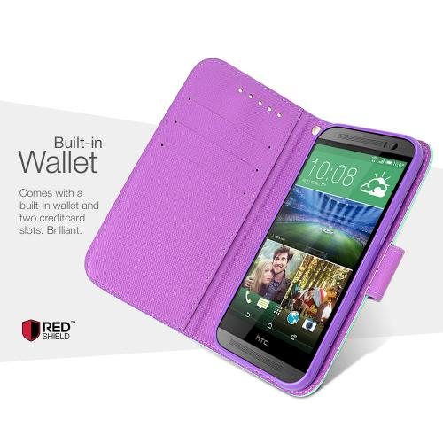 Baby Blue/ Purple RED SHIELD HTC One (M8) Faux Leather Diary Flip Stand Case w/ ID Slots, Bill Fold, & Magnetic Closure + Free Screen Protector