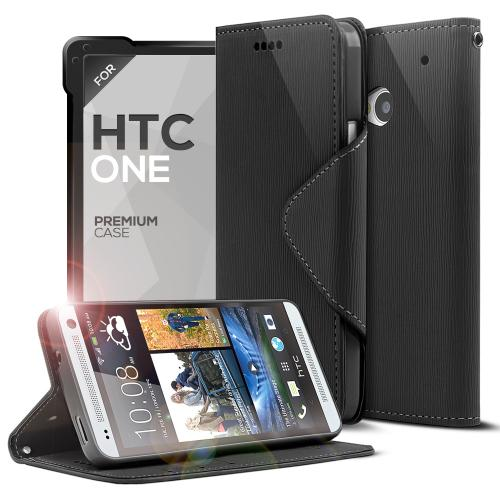 Black Faux Leather Diary Flip Case w/ ID Slots, Bill Fold, & Magnetic Closure for HTC One