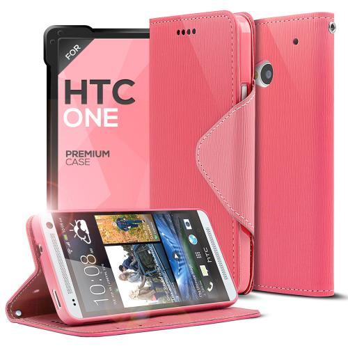 Hot Pink/ Baby Pink  Faux Leather Diary Flip Case w/ ID Slots, Bill Fold, & Magnetic Closure for HTC One