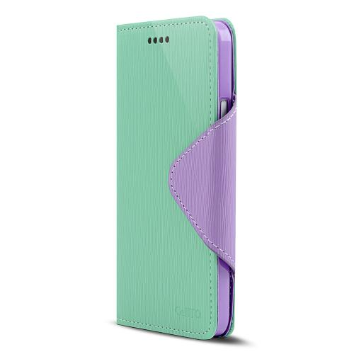 Mint/ Lavender Faux Leather Diary Flip Case w/ ID Slots, Bill Fold, & Magnetic Closure for HTC One