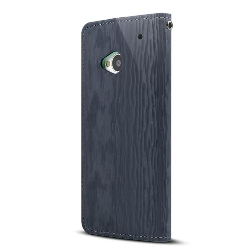 Navy Blue/ Mint Faux Leather Diary Flip Case w/ ID Slots, Bill Fold, & Magnetic Closure for HTC One