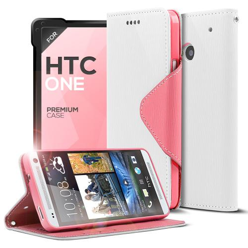 White/ Hot Pink Faux Leather Diary Flip Case w/ ID Slots, Bill Fold, & Magnetic Closure for HTC One