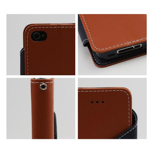Brown/ Navy Blue Faux Leather Diary Flip Case w/ ID Slots, Bill Fold, & Magnetic Closure for Apple iPhone 4/4S