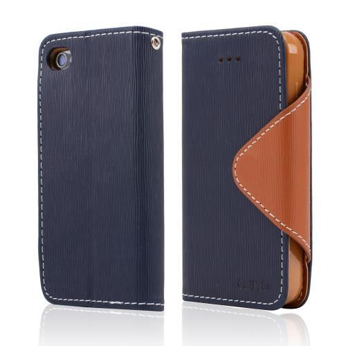 Navy Blue/ Brown Faux Leather Diary Flip Case w/ ID Slots, Bill Fold, & Magnetic Closure for Apple iPhone 4/4S
