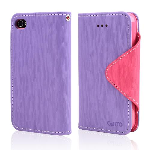 Lavender/ Baby Pink Faux Leather Diary Flip Case w/ ID Slots, Bill Fold, & Magnetic Closure for Apple iPhone 4/4S
