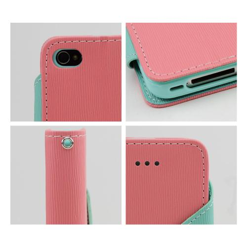 Light Melon/ Mint Faux Leather Diary Flip Case w/ ID Slots, Bill Fold, & Magnetic Closure for Apple iPhone 4/4S