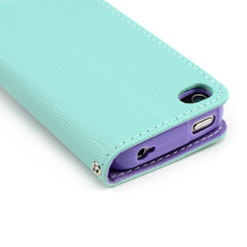 Mint/ Lavender Faux Leather Diary Flip Case w/ ID Slots, Bill Fold, & Magnetic Closure for Apple iPhone 4/4S
