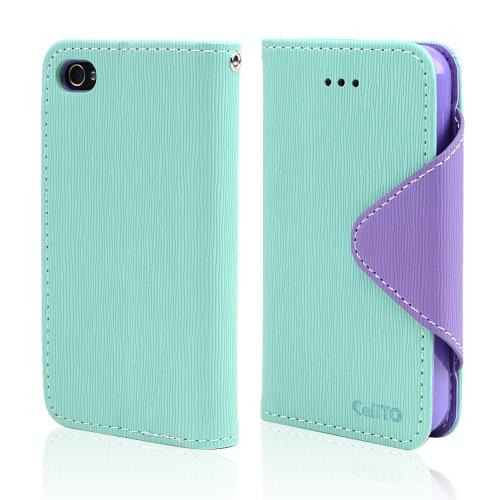Mint/ Lavender CellLine Faux Leather Diary Flip Case w/ ID Slots, Bill Fold, & Magnetic Closure for Apple iPhone 4/4S