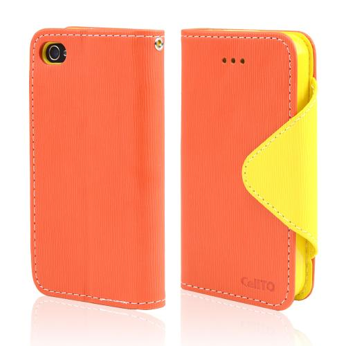 Orange/ Yellow Faux Leather Diary Flip Case w/ ID Slots, Bill Fold, & Magnetic Closure for Apple iPhone 4/4S