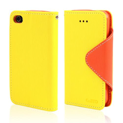 Yellow/ Orange Faux Leather Diary Flip Case w/ ID Slots, Bill Fold, & Magnetic Closure for Apple iPhone 4/4S