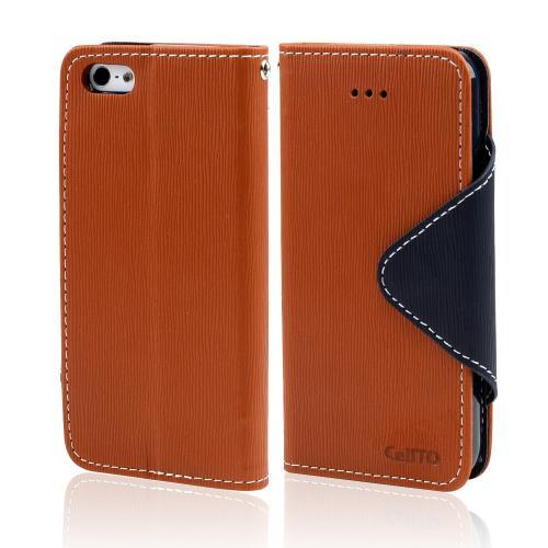 Brown/ Navy Blue Exclusive Faux Leather Diary Flip Case w/ ID Slots & Bill Fold for Apple iPhone 5/5S