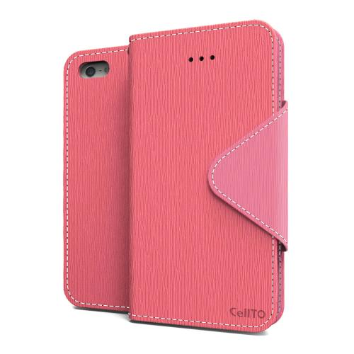 Hot Pink/ Baby Pink Faux Leather Diary Flip Case w/ ID Slots, Bill Fold, Magnetic Closure & Free Screen Protector for Apple iPhone 5C