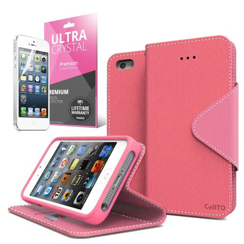 Hot Pink/ Baby Pink CellLine Faux Leather Diary Flip Case w/ ID Slots, Bill Fold, Magnetic Closure & Free Screen Protector for Apple iPhone 5C